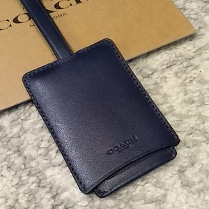Coach Navy Leather Luggage Tag